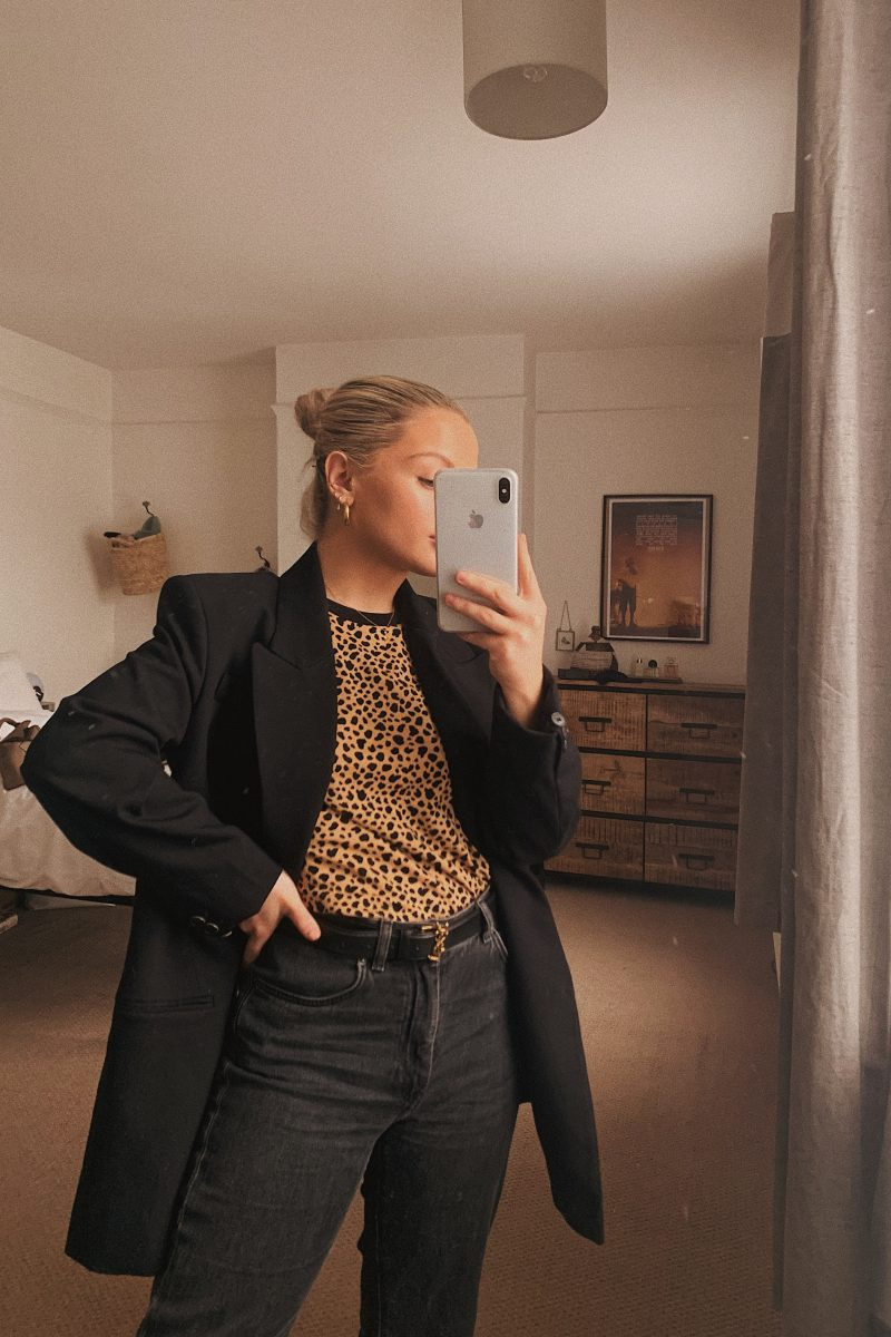 Mirror shot with leopard tee and black blazer