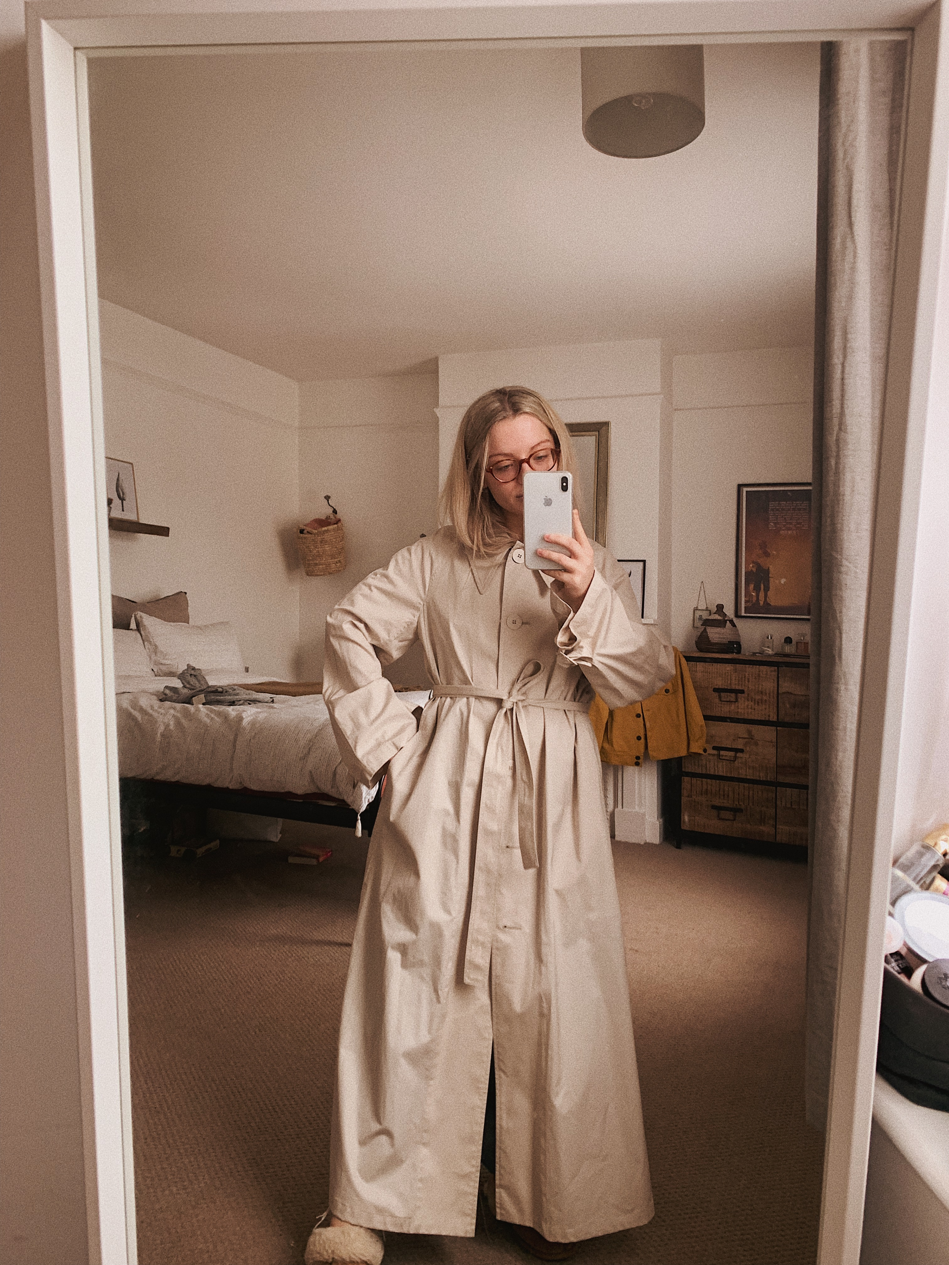 Mirror shot - me in a full length Mango trench coat