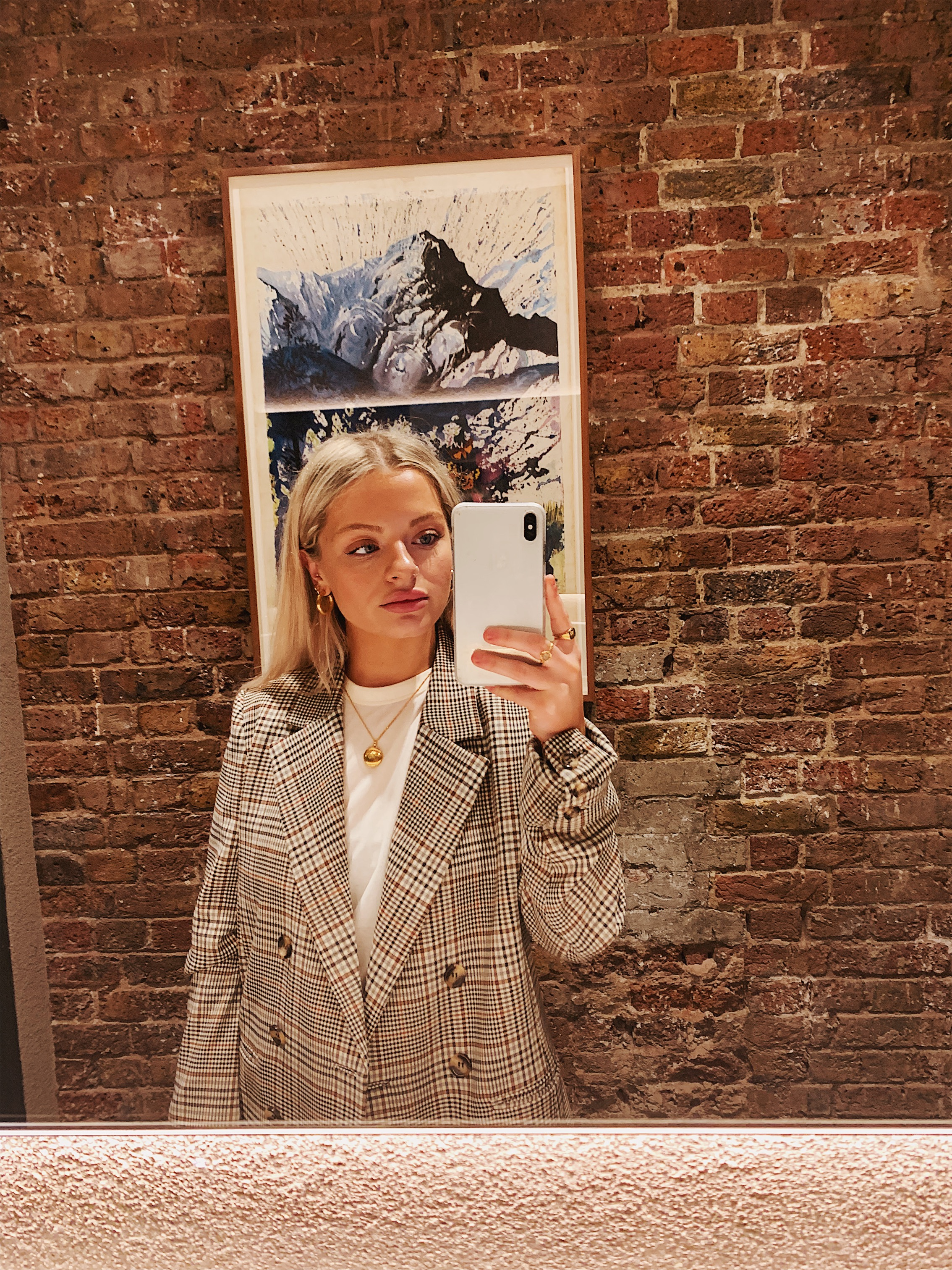 Mirror selfie in cafe toilets wearing check blazer